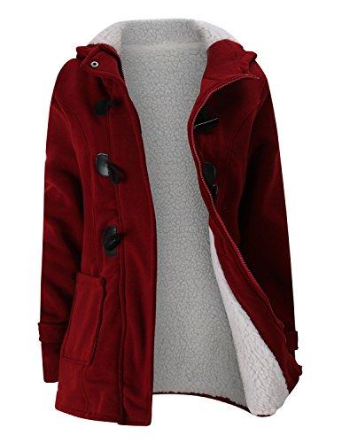 BYD Femmes Manteaux à Capuche Bouton Corne Blouson Veste Jacket Manches Longues Chaud Épais Hoodie Hoody Outwear Automne Hiver Slim Fit,Rouge,Small