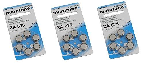 Renata Hörgerät ZA 675 Maratone Zink Luft Hörgeräte Akkus von 6 Stück (3 Packung ZA 675) - 675 Zink-luft