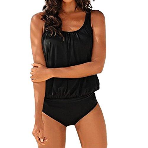 SAFASHION Femme Maillot de Bain Push Up Rembourse 2 Pieces Amincissant Bikini Shorty Boho Tankini Sport Jupette (2XL, Noir Uni)