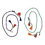 Magideal 2x Supporto Eyewear, Occhiali Cord Cinturino, Collana Porta Occhiali, Catenine Cordini Per Occhiali - Verde chiaro, blu scuro, 75 centimetri