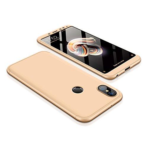 Bigcousin Xiaomi Redmi Note 5 Pro Hülle, mit [1 x Panzerglas Schutzfolie] 3 in 1 Ultra Dünner PC Harte Schutzhülle 360 Grad Hülle Fullbody Case Cover für Xiaomi Redmi Note 5 Pro - Gold