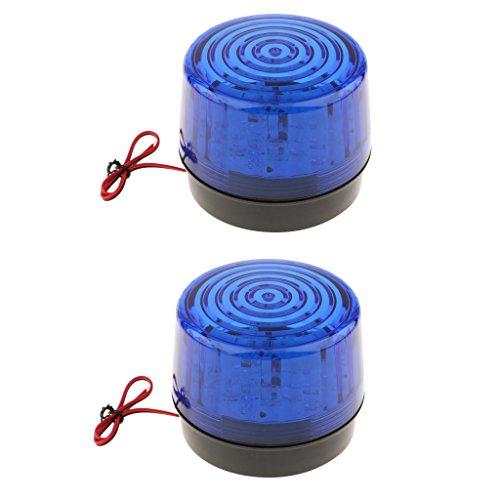 Gazechimp 2x Rund Verkehr Arbeitszone Blitzleuchte Blinklampe Warnleuchte Alarmlampen 12V DC, 120mA Signalalmpe -Blau