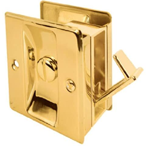 Slide-Co 161495 Pocket Door Privacy Lock with Pull, Polished Brass by Slide-Co