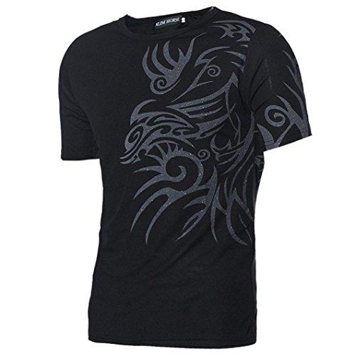 Rcool Männer Jungen Kurzarm T-Shirts Tees Slim Design Bottoming Shirt Schwarz