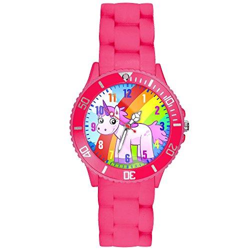 Taffstyle Kinder Armbanduhr Silikon Sportuhr Bunte Sport Uhr Kinderuhr Lernuhr Zahlen mit Einhorn Motiv Analog Quartz Rainbow Pink