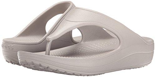 crocs Damen Sloane Platform Flip Offene Sandalen mit Keilabsatz Silber