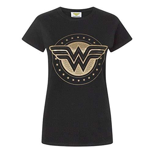 Wonder Woman - Camiseta con Escudo Aluminio para Mujer (S/Negro)