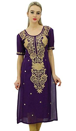 Bimba Damen Designer Bestickt Kurta Kurti Indischen Lange Tunika Bluse -