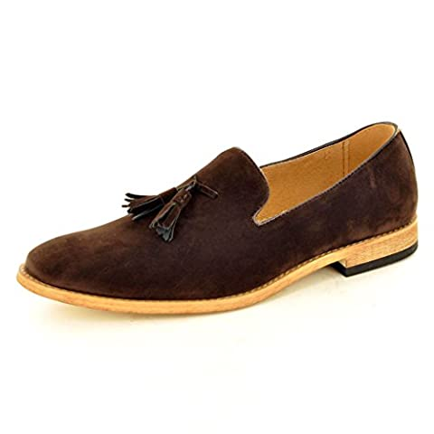 Men's Brown Leather Lined Slip On Suede Tassel Loafers Shoes ( Size 9, Brown)