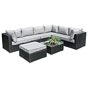 hansson polyrattan lounge sitzgruppe gartenm bel garnitur poly rattan 6 sitzpl tze. Black Bedroom Furniture Sets. Home Design Ideas