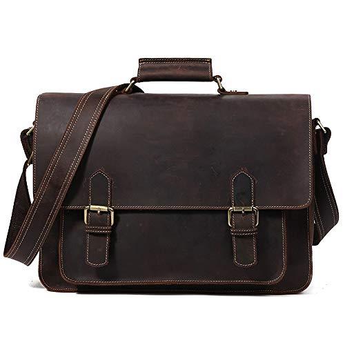PANGOIE,Laptop Tasche Umhängetaschen Herren Arbeitstaschen Leder Messenger Schultertaschen,Coffee-OneSize