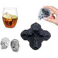 AYOMI® - Bandeja para cubitos de hielo con tapa de silicona 3D, diseño de calavera de hielo para whisky, cócteles y bebidas de zumo, color negro