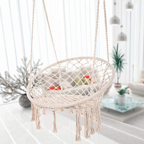 Bormart Hängematten-Schaukel aus Makramee, zum Aufhängen, aus Netzstoff, langlebig, für Schlafzimmer, Terrasse, Garten, Deck, Hof, max. Tragkraft 265 kg beige -