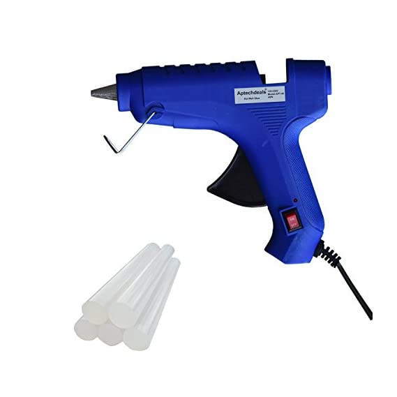 ApTechDeals 40 Watt Triple Power Rapid Heating and Quick Melt Hot Glue Gun with Glue Sticks for Arts and Crafts (Blue) - Set of 8