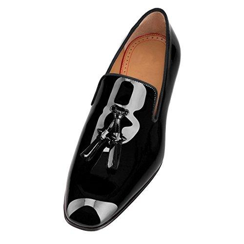 Cuckoo Lackleder Kleid Schuhe Schwarz Müßiggänger mit Quasten Schwarz