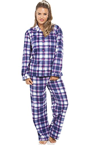 Camille Womens Nightwear Lilac Check Long Sleeve Button Front Wincy Nightshirt