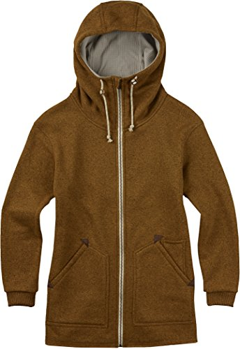 Burton, Felpa in pile con cappuccio Donna, Marrone (Monks Robe Heather), S