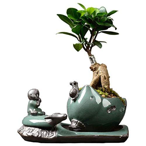 GR-BTDX Artesanías caseras auspiciosas Creativas. Personalidad Creativa Ollas de cerámica GE Yao Simple Green Roland Planta de Hierba Casa en Maceta Interior IKEA Art Pot