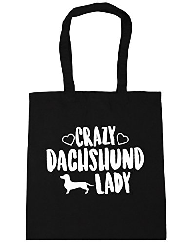 hippowarehouse-crazy-dachshund-lady-tote-shopping-gym-beach-bag-42cm-x38cm-10-litres