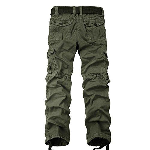 OCHENTA Herren Freizeithose Wasserwäsche Cargohose mehrere Tasche aus Baumwolle Loose-Fit #3380 Army Green