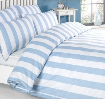 Louisiana Bedding Vertical Stripe Blue & White Duvet Cover Set 100% Cotton 200 Thread Count, Single Double King SuperKing - low-cost UK bedding shop.