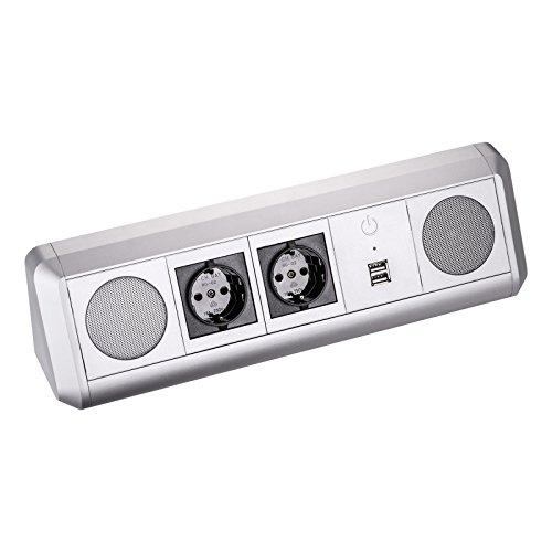 Preisvergleich Produktbild SO-TECH® Stereo Bluetooth Lautsprecher TOBO Soundbox mit 2 Schuko Steckdosen und zwei USB Ports zum Aufladen von Smartphones - Design trifft auf Funktion