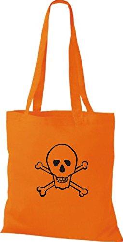 Teschio A Arancione shirt Di Di Forma Stoffa Teschio Colore Di Unita Di Tinta T Teschio HPxdq6wX6