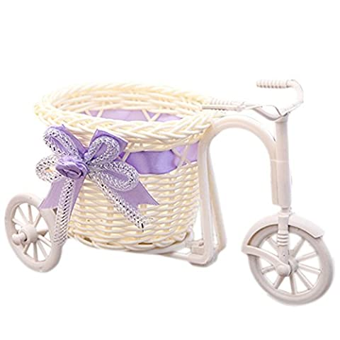 Uminilife Handmade Rattan Weave Flower Basket Tricycle Bicycle Home Decoration