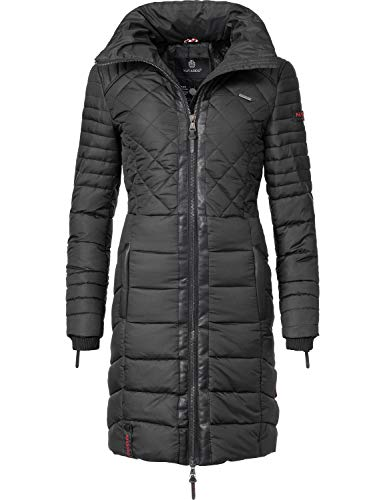 Navahoo Damen Winter-Mantel Steppmantel Ronin Schwarz Gr. L