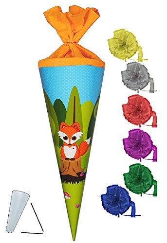 Preisvergleich Produktbild Schultüte - Fuchs mit Pilz - 70 cm - rund - incl. SCHLEIFE - Filzabschluß - Zuckertüte - mit / ohne Kunststoff Spitze - Glückspilz - Füchse / Waldtiere Eichhörnchen Punkte - für Mädchen & Jungen - Glücksbringer - Tiere des Waldes