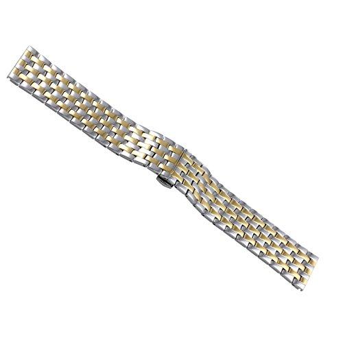22mm cinturini per orologi in metallo dorato tono due cinghie per marchi di lusso svizzeri maschile tipo pesante in acciaio inossidabile solido