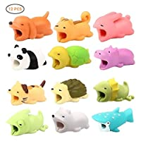 Surenhap 12 Pieces Cute Animal Bites Pattern Protective Cable Protector Cover Case for iPhone Universal Accessories Electronic Design