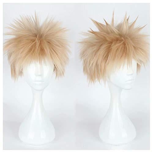 NiceLisa Unisex Kurzes Spiky Fluffy Light Blonde School Boy Academia Anime Hero Cosplay Kostüm Party ()