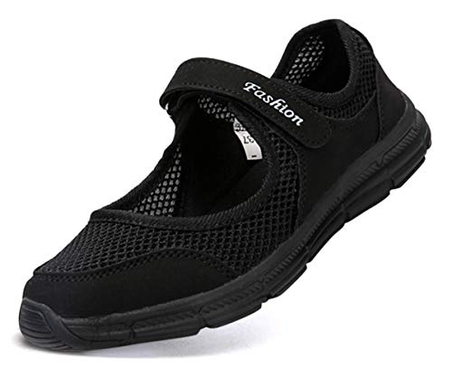Pastaza Outdoor Fitnessschuhe Damen mit Klettverschluss Leicht Weich Flache Halbschuhe Mesh Atmungsaktive Casual Walking Schuhe,Schwarz - 38 EU