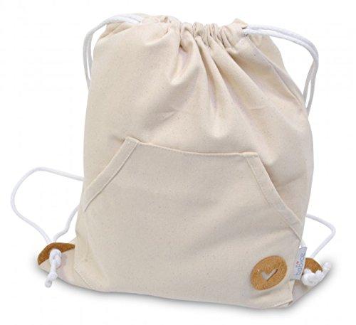 Turnbeutel Sporttasche mit Herz-Applikation für Kinder von baBice, Farbe Turnbeutel:grau beige