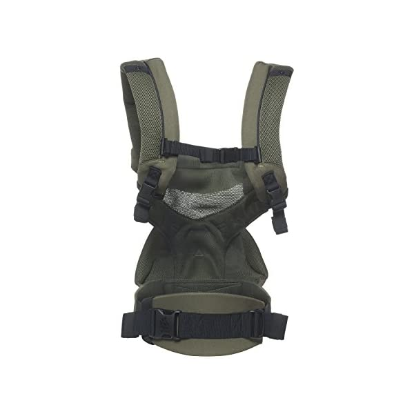 Ergobaby Baby Carrier up to 3 years (12-45 lbs) 360 Cool Air Khaki Green, 4 Ergonomic Carry Positions, Front Back Baby Carrier front facing, Backpack Ergobaby Ergonomic baby carrier for the summer, with 4 ergonomic carry positions: front-inward, back, hip, and front-outward. The carrier is suitable for babies and toddlers weighing 5.5-20 kg (12-45 lbs), and can be used as a back carrier. Also with insert for newborn babies weighing 3.2-5.5 kg (7-12 lbs), sold separately. NEW - The waistbelt with lumbar support can be worn a little higher or lower to support the lower back and provide optimal comfort, and has adjustable padded shoulder straps. The carrier is suitable for men and women. Maximum baby comfort - Breathable 3D air mesh material provides an optimal temperature for your baby on warm days. The structured bucket seat supports the correct frog-leg position for the baby. The carrier also has a neck support and privacy hood with 50+ UV sun protection. 3