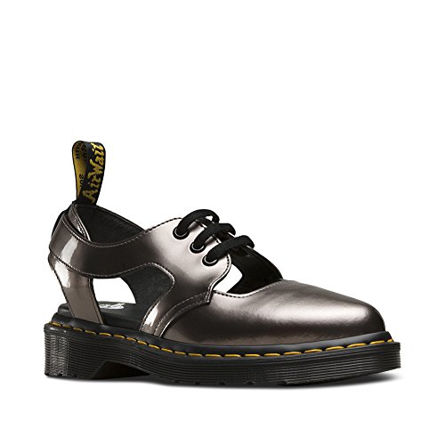 Dr. Martens Women's Genna Cut Out Sandals, Grey Spectra Patent Leather, 3 M UK, 5 M US (Damen-doc Martens Oxford)