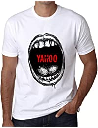 91bc07cdaa836 Hombre Camiseta Vintage T-Shirt Gráfico Mouth Expressions Yahoo Blanco