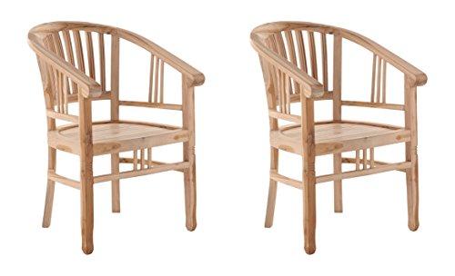 SAM 2er Set Teak-Holz Massiv Gartensessel Moreno, Stuhl mit Armlehnen, für Balkon, Terrasse