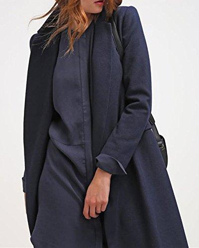 SaiDeng Mini Robe Chemise Casuel Mousseline Manche Longue Col V Robe Bleu