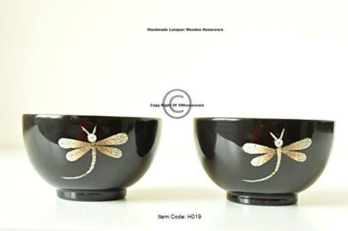 vnhomeware Bols en Bois, Lot de 2 Faite à la Main coupelles à Fruits conteneurs Peinture laquée Brillante incrusté avec Coquille d'œuf décoratifs, saladiers Noir H0192