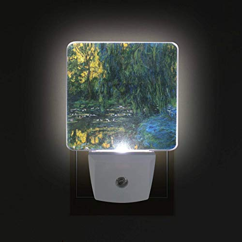 DFISKK Nachtlicht Monet's Weeping Willow and Water Lily Pond 2 Pack 0.5W Plug-in LED Night Light Lamp with Dusk to Dawn Sensor, Night Home Decor Bed Lamp - Willow Pond