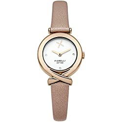 Fiorelli Women's Quartz Watch with White Dial Analogue Display and Pink Leather Strap FO009CRG