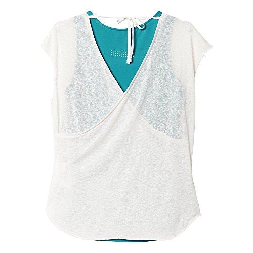 adidas Damen Oberbekleidung Kanoi Run Layer Tee Women T-shirt, Weiß/Grün, 36 -
