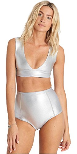 2017 Billabong Island Time 1mm Neoprene Banded Bikini Top METALLIC SILVER C41G13 Sizes- - Ladies 8