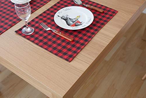 Lxj Geschirr Matte einfach rot schwarz Baumwolle Hanf Mahlzeit Mat Tuch westliches Essen Tuch Serviette Streifen Karierten Hintergrund 45 * 32cm -