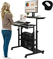 Rolling Laptop Table Mobile Standing Desk Sit-stand Computer Cart Workstation Height Adjustable for Home Offic