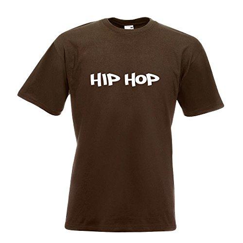 KIWISTAR - Hip Hop Musik Gangsta Style Rap Ghetto T-Shirt in 15 verschiedenen Farben - Herren Funshirt bedruckt Design Sprüche Spruch Motive Oberteil Baumwolle Print Größe S M L XL XXL Chocolate