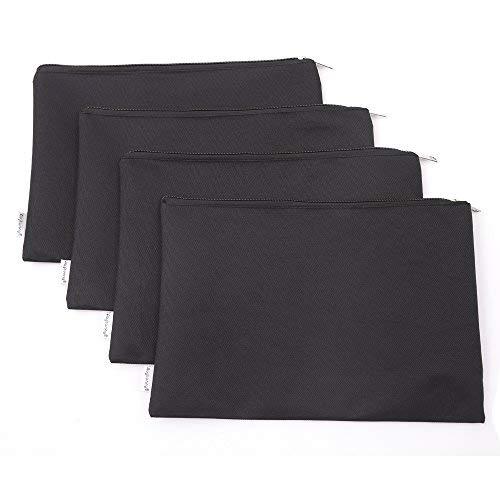 augbunny Reißverschluss Polyester Sicherheit Utility Münzgeldfach Bag Check Wallet Geld Organizer Tasche von der Bank 4er Pack Medium schwarz