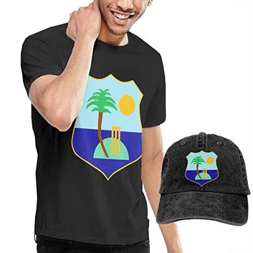 Cuteove West Indies Cricket Board Flag Mens Short Sleeve Tee Sports T Shirt Tees with Cap(XL,Black)